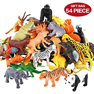 Customer reviews Animals Figure,54 Piece Mini Jungle Animals Toys Set,Zoo World Realistic Wild Vinyl Pastic Animal Learning Resource Party Favors Toys For Boys Kids Toddlers Forest Small Farm Animals Toys Playset