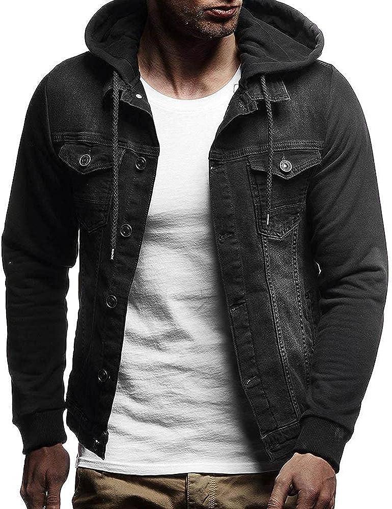 LEIYAN Vintage Hooded Jean Jackets for Men Long Sleeve Lightweight Button Down Casual Cargo Denim Coat Outerwear