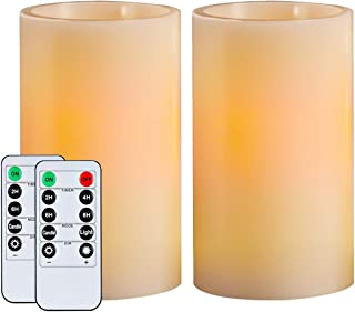 """Best Homemory 5"""" Wax Flameless Candles, Battery Operated LED Pillar Candles with Remote Control & Timer, Amber Yellow Flickering Light for Party, Wedding, Festival (Set of 2, Ivory), Indoor Only Review"""