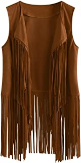 Kulywon Women Autumn Winter Faux Suede Ethnic Sleeveless Tassels Fringed Vest Cardigan
