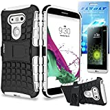 LG G5 Grenade Combat Kickstand Slim Fit Heavy Duty Case - White by ElBolt with Free HD Screen Protector