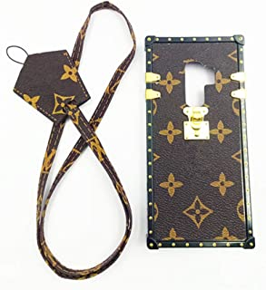 jiehao Samsung Galaxy S9 Plus S9+ Case,Vintage Elegant Luxury Designer Monogram PU Leather Back with Lanyard Soft Bumper Shock Trunk Case Cover Protective Phone Case For Samsung S9 Plus 6.2
