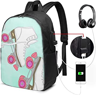 Roller-Skating USB Backpack 17 Inches High-Capacity for Traveling