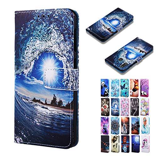 Rose-Otter für Handyhülle Huawei Y5P 2020 / Honor 9S Hülle Leder PU Flip Case Kartenfach Klappbar Stoßfest Schutzhülle Tasche Cover Muster Blau Ozeanwelle