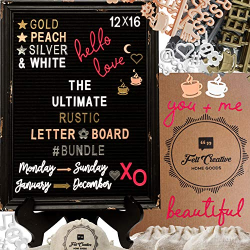 Rustic Felt Letter Board Ultimate Bundle Farmhouse Vintage Black Wood Frame and Stand by Felt Creative Home Goods Changeable Message Memo Board 800+ Letter Set (Gothic Black, 12x16)