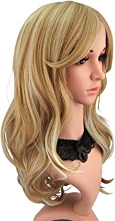 medium length blonde wig with bangs