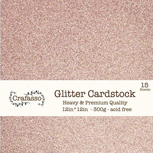 Crafasso 12 x 12 300gms heavy & premium cardstock, 15 sheets, rose gold