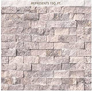 Silver Travertine Split Face 12 in. x 12 in. x 10 mm Travertine Mesh-Mounted Mosaic Tile (1
