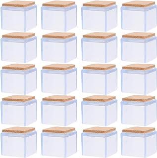 Cabilock Lot de 20 housses de protection pour pieds de chaise carrées, en silicone, pour meubles de table, en bois (transp...