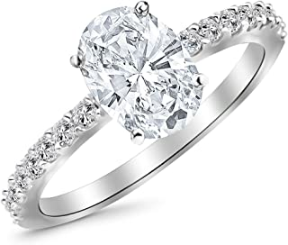 0.8 Ctw 14K White Gold Classic Side Stone Pave Set Engagement Ring w/Oval 0.5 Carat Forever One Moissanite Center
