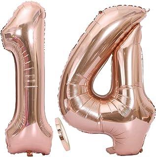 """2 Globos Número 14 Oro Rosa, Globo de Papel Aluminio Gigante Numero 14 Globo 100cm con Cinta 40 """" Globo Inflable de Helio para Decoración de Fiesta de Cumpleaños Fiesta de Graduación"""