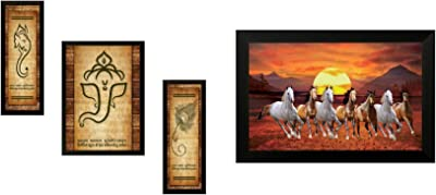 SAF Up Textured Ganesh Modern Art Print Framed Painting Set of 3 for Home Decoration – Size 35 X 2 X 50 cm & Wooden 7 Running Horses Vastu Painting for Home and Office (35X2X50cm) Combo