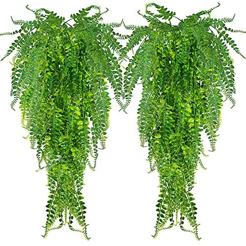 ASHINER 2 Pièces Plante Artificielle Fougère de Boston Plantes, Fausse Mur Végétal Artificiel Tombante, la Maison et la Décoration Extérieur de Mariage Déco