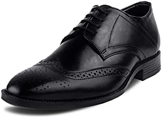 Kanprom Men's Black Genuine Leather Formal Derby Lace-Up Brogue Shoes