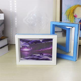 Queenie® Flowing Sand Painting Double Color Frame Purple Starry Moving Sand Art Dynamic Effection Hourglass Attached Mirror