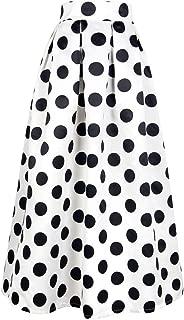 PERSUN Women's Casual High Waist A-Line Polka Dots Print Long Maxi Skirt