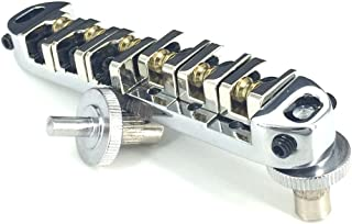 Greenten Roller Saddle Tune-O-Matic Guitar Bridge for Gibson Les Paul Electric Guitar Replacement (Chrome)