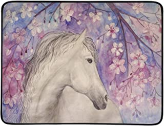Hand Drawn White Beautiful Horse Under Sakura Blos Pattern Portable and Foldable Blanket Mat 60x78 Inch Handy Mat for Camping Picnic Beach Indoor Outdoor Travel