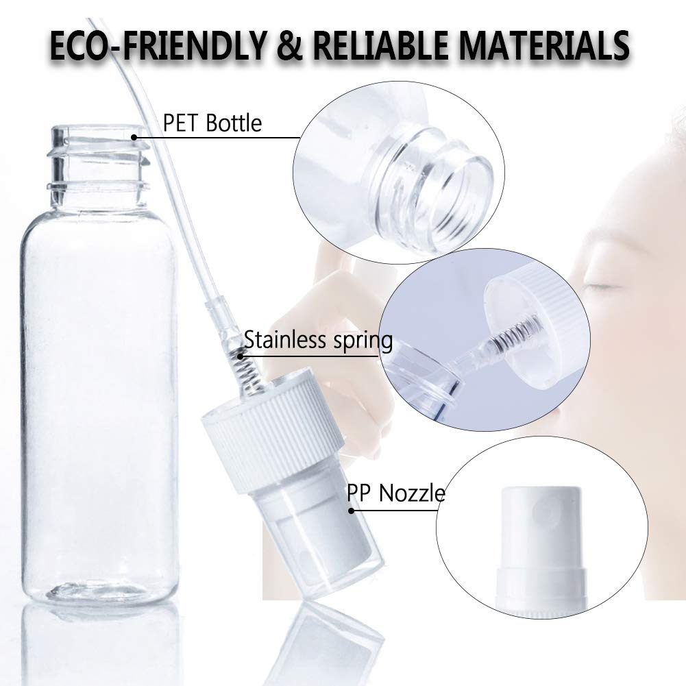 5 pack 1 oz clear spray bottleMini refillable container with fine mist sprayer for perfumeLiquidsMakeup removerEssential oils