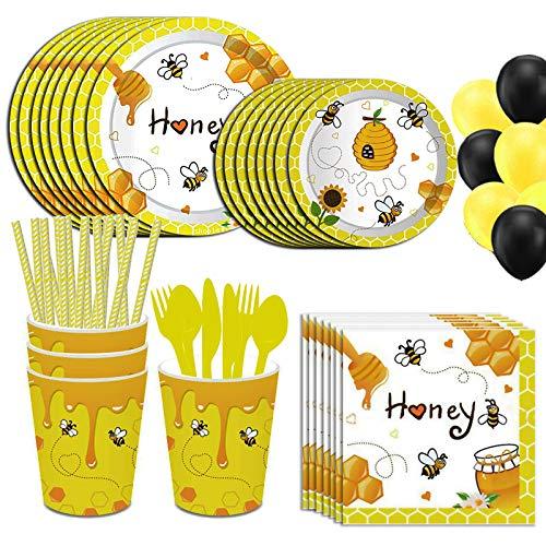 Baipin 113-teiliges Biene Geburtstag Geschirr Kit, Kinder Partyzubehör Set Teller Messer Löffel Gabeln Pappbecher Stroh Servietten Schwarzergelber Ballon Partygeschirr-Set für 8