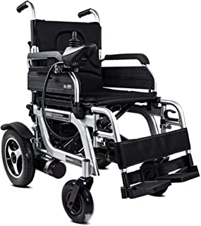 Sillas de Ruedas eléctrica, Anciano Completamente automático Plegable aleación de Aluminio liviano con discapacidad, Negro, Negro, Color Nombre: Negro (Color : Black)