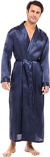 Alexander Del Rossa Men's Lightweight Satin Robe, Long Solid Color Kimono