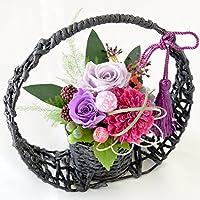 花由 プリザーブドフラワー<和モダン>花あかり 若紫 パープル系 フラワーギフト 和風 マケプレお急ぎ便