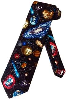 Mens Astronomy Solar System Necktie - Black - One Size Neck Tie