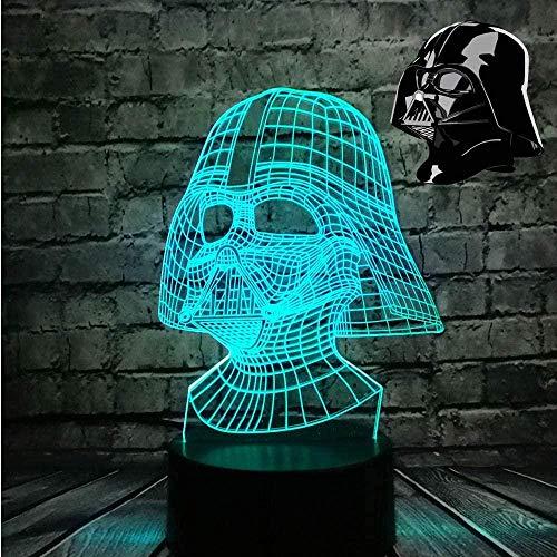 Tatapai 3D Illusion Lamp Led Night Light Star Wars Darth Vader Darth Warrior USB Table Lamp Multicolor Touch Visual Cool Figure Kids Toys