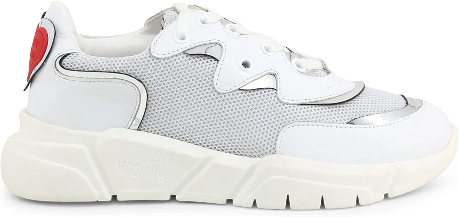 MOSCHINO Love Women's Silver OFFicial favorite Sneakers White