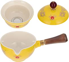 BESTonZON Ceramiczny dzbanek do herbaty z uchwytem z boku, porcelana, zaparzacz do herbaty, zaparzacz do herbaty z zaparza...