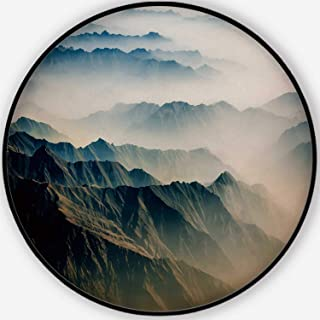 Hitecera Air View Bath Mat,Pakistan Mountains Along The Way to Osaka for Bathroom,4'Round