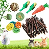 Epessa Rabbit Chew Toys Set, Apple Sticks, Natural Loofah Brass Ball Toys, Carrot & Corn Toy for Dental Health with Storage Bag
