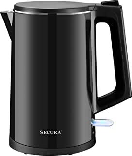 Secura SWK-1511 The Original Stainless Steel Double Wall Electric Water Kettle 1.6 Quart (Black)