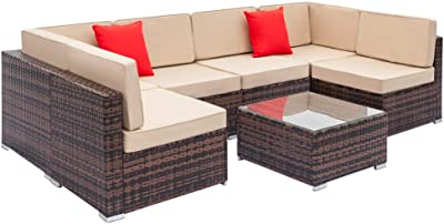 Amazon.com : Tidyard Garden Lounge Set 15 Pieces Poly Rattan ...