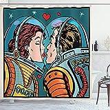 ABAKUHAUS Duschvorhang, Mann und Frau Astronauten Wissenschaft Kosmos Fantasie Paar Pop Art Kunst die Sich Küssen Druck, Wasser und Blickdicht aus Stoff mit 12 Ringen Bakterie Resistent, 175 X 200 cm