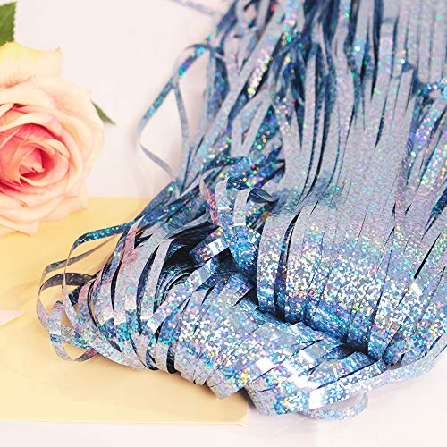 GILF 2 Packs 3.3ft x 9.8ft Laser Glitter Sparkle Metallic Fringe Tinsel Foil Curtains for Wedding Birthday Party New Year Merry Christmas Photo Booth Backdrop Decoration (Light Blue)