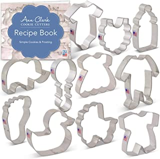 Ann Clark Cookie Cutters 11-Piece Baby Shower Cookie Cutter Set with Recipe Booklet, Onesie, Bib, Rattle, Bottle, Carriage, Foot, Footie PJs, Dress, Romper, Duck & Elephant
