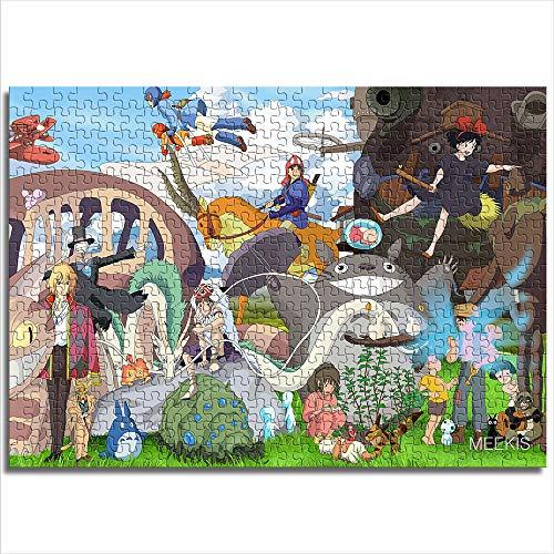 Juego educativo rompecabezas Hayao Miyazaki El viaje de Chihiro Sky Castle Princess Mononoke Nausicaä del Valle del Viento My Neighbor Totoro 1000 Pcs Puzzle de madera