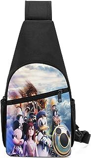 JHUIK Videojuego Kingdom Hearts Sling Bag/Crossbody Mochila de pecho/Bolsos de hombro para hombres Mujeres Viajes Senderis...