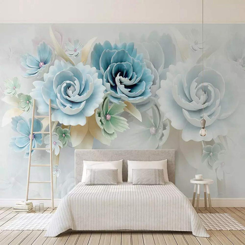 ACYKM Personalizado de cualquier tamao Murales de parojo 3D Papel tapiz 3D Alivio estereoscópico Flores azules Sala de estar TV Fondo Foto Papel de parojo Dormitorio-200x140cm