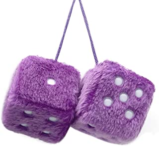 YGMONER Pair of Retro Square Mirror Hanging Couple Fuzzy Plush Dice with Dots for Car Decoration (Purple)
