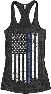 Women's Honor Respect Blue Line Flag Burnout Racerback Tank Top