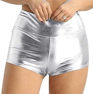 d2d7006f8c505 ranrann Women s Shiny Metallic Wet Look Stretchy High-Waisted Boyshorts Hot  Pants Booty Shorts Clubwear