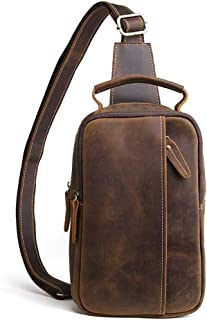 Genuine Leather Chest Bag Men's Messenger Bag Crazy Horse Vintage Tide Shoulder (Color : Brown, Size : S)