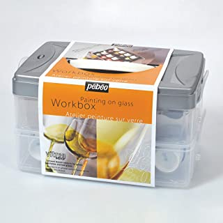 Pebeo Vitrea 160, Workbox Set of 10 Assorted 45 ml Glass Paint Colors + Accessories