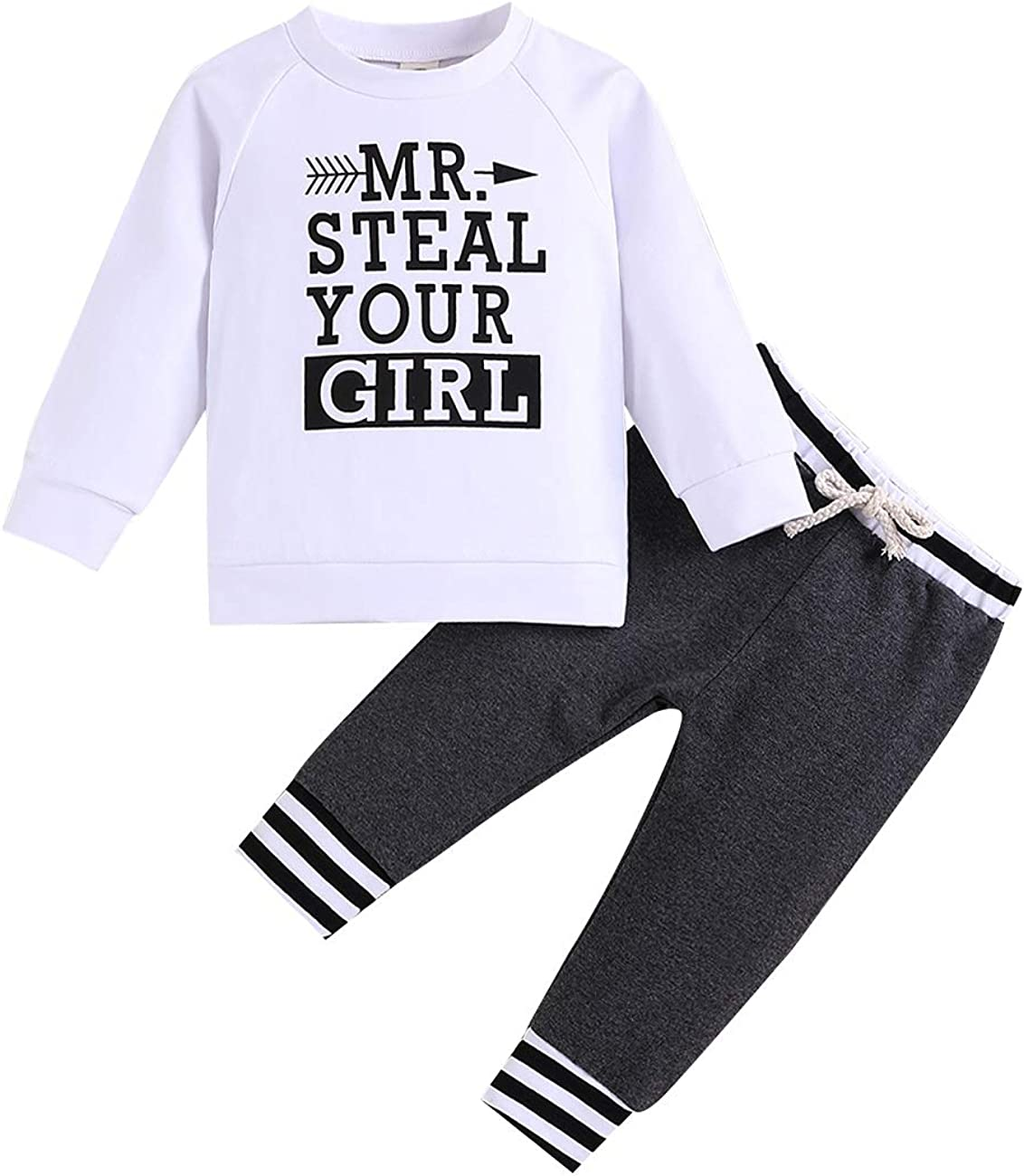 Baby Boy Summer Outfit Sweatshirt Bear Printed Long Sleeve Hoodie Tops + Plaid Striped Pants Outfits Set …
