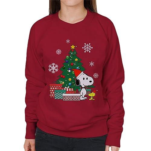 b13c722c61 Cloud City 7 Snoopy and Woodstock Around The Christmas Tree Women s  Sweatshirt