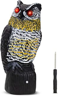 Vensmiles Upgrade Solar Fake Owl Decoy Bird Repellent for Garden 16 in. Tall Motion Activated Scarecrow Deterrent with Flashing Eyes & Frightening Owl Sound to Scare Pigeon Woodpecker Away
