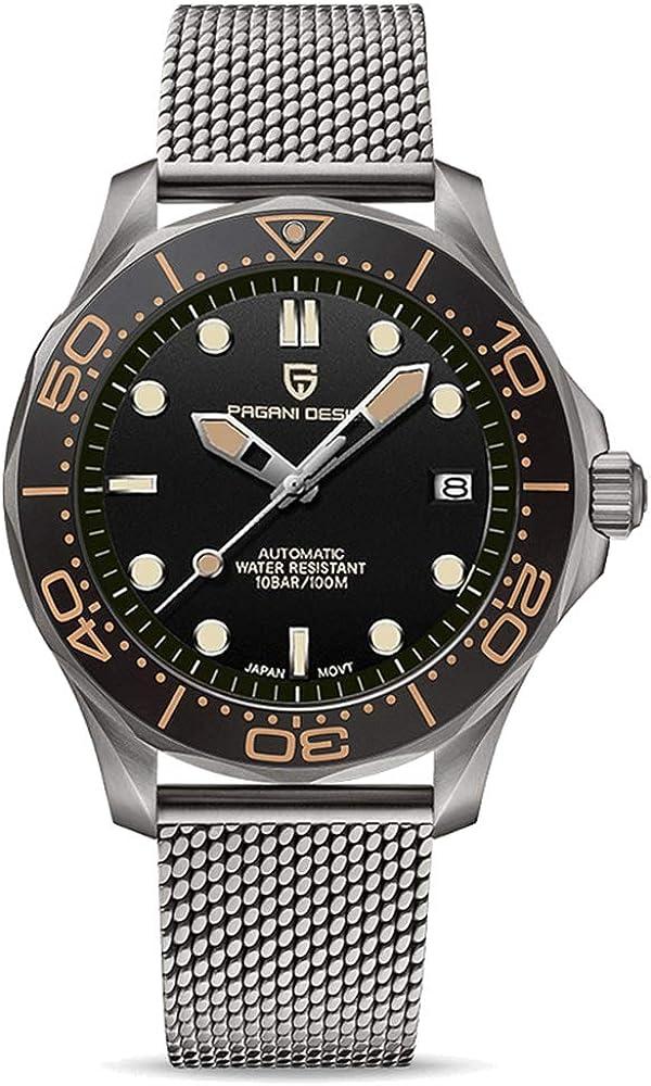 Pagani Design 007 Seamaster - Reloj de buceo automático para hombre, correa de acero inoxidable, bisel de cerámica, espejo curvo de zafiro, resistente al agua